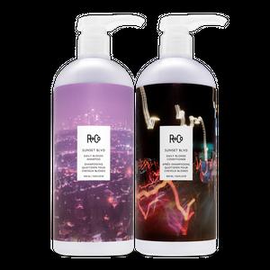 SUNSET BLVD Daily Blonde Shampoo + Conditioner Retail Liter Set SALE