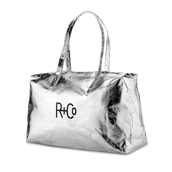 R+Co Silver Duffle Bag